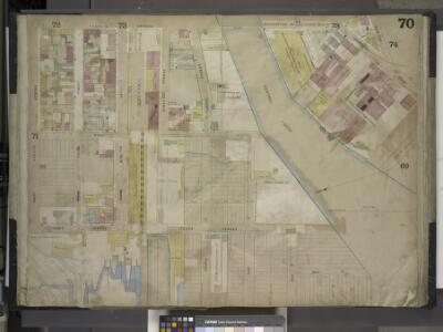 Brooklyn, Vol. 4, Double Page Plate No. 70; [Map      bounded by Vernol Ave., Manhattan Ave. late Union Ave., Commercial St., Box St., Bell St. (Not Opened), Newtown Creek, River St.; Including Pier St., Dock St.,   South St., Flushing St., Front St.,