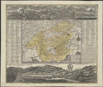 Accurate abbildung der Statt Kayser Carlsbad, nach doppelten Prospect, und geograph. Situation in Böhmen in dem Elnbogner Crais gelegen samt angränzender Gegend und Landschafften