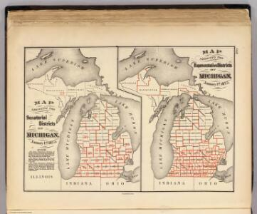 Maps showing the senatorial and representatives districts of Michigan.