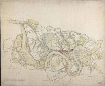 [Charte der Rheingegend von Rhein-Türkheim bis Oppenheim mit dem projektierten Rheindurchstich am Geyer]