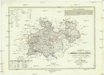 Karte des Böhmisch Leipa'er Kreises im östereichischen Kronlande Böhmen