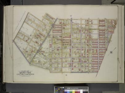 Queens, Vol. 2, Double Page Plate No. 34; Part of     Ward Two East Williamsburgh; [Map bounded by Palmetto St., Prospect Ave., Ivy    St., Forest Ave., Ptnan Ave., Woodard Ave., Madison St., Myrtle Ave.; Including  Boundary Line between borough of Qu