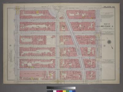 Plate 42, Part of Section 4: [Bounded by W. 59th Street - Central Park South, Seventh Avenue, W. 53rd Street and Ninth Avenue.]