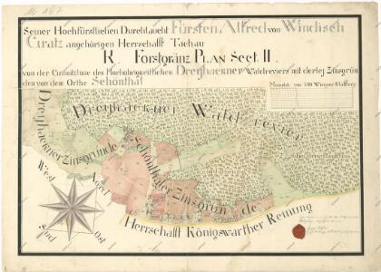 Lesní hraniční mapa mezi revírem Tři Sekery a pozemky obce Krásné