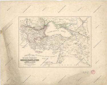 Uebersichts Karte des russisch - türkischen Kriegsschauplatzes in Europa und Asien