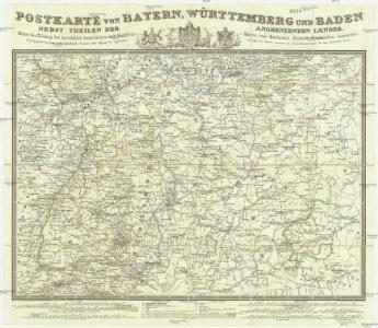 Postkarte von Bayern, Würtemberg und Baden nebst Theilen der angrenzenden Laender